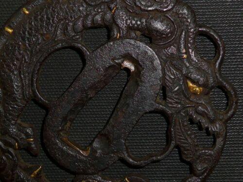 """DAITO DRAGON SUKASHI TSUBA of KATANA (sword) : EDO : 2.9 × 3 × 0.1 """"  110g"""