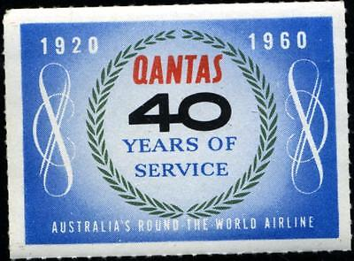 40 Years of Service ~QANTAS AIRLINE - AUSTRALIA~ Anniversary Poster Stamp, 1960