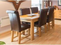 Solid Oak Extendable Table and 6 Oak and Leather Chairs (Seats 6-10 People)