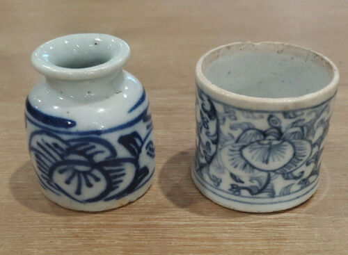 Antique Chinese Small Blue & White Porcelain 19th Century (Qing) Brush Pots