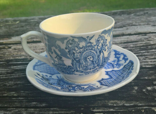 Blue Fair Winds New York Harbor Alfred Meakin Staffordshire England Cup & Saucer