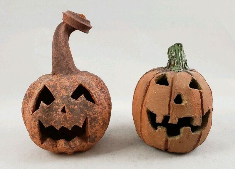 Studio Pottery Rustic Jack O Lantern Halloween Pumpkins - Pair of 2 - Signed