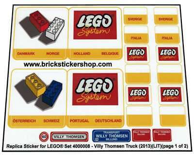 Precut Custom Replacement Stickers for Lego Set 4000008 - Villy Thomsen Truck...