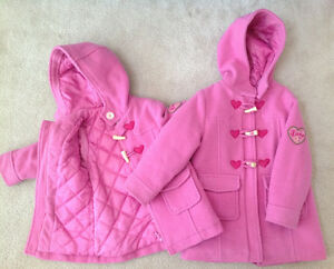 2 Joe Fresh Girls Pink Peacoats, size 2&4 - Great Condition!