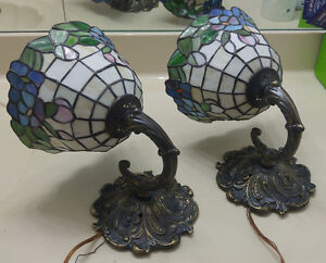 pair of Tiffinay styled stained glass sconces