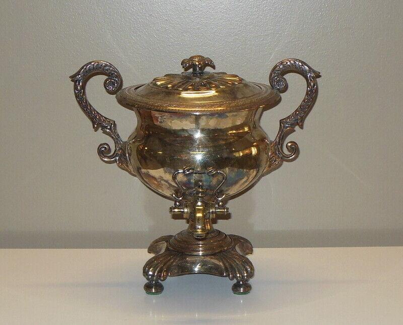 Antique SHEFFIELD England Silver Plate SAMOVAR Coffee Tea Water URN SUNFLOWER
