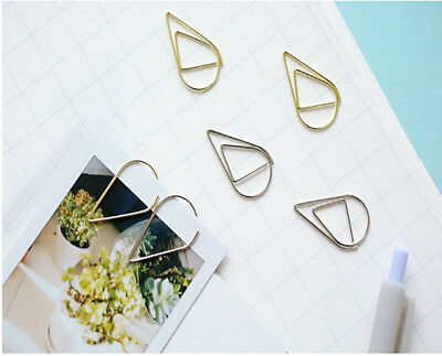 60pcs Water Drop Shape Paper Clips Office Supplies Colorful Metal Memo Bookmarks