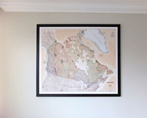 National Geographic Map of Canada Framed with Push Pin Backing