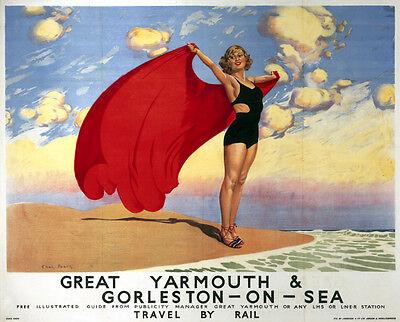 Vintage Rail travel railway poster  A4 RE PRINT Gt.Yarmouth & Gorleston on Sea