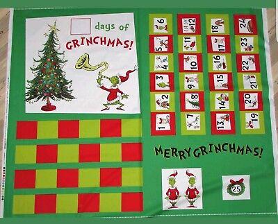 """Kaufman How the Grinch Stole Christmas fabric Advent Calendar 36"""" Panel htf!"""