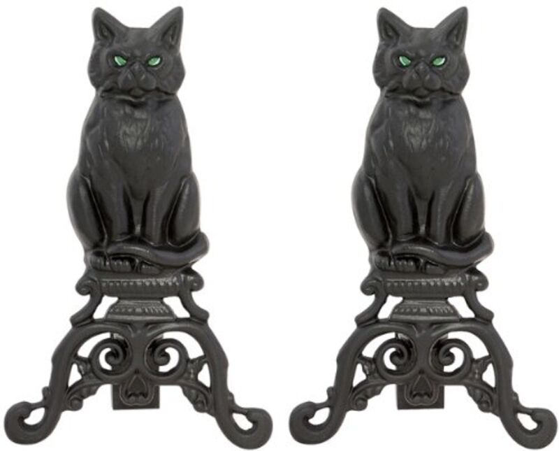 UniFlame BLACK CAST IRON CAT ANDIRONS WITH REFLECTIVE GLASS EYES A-1251 NEW