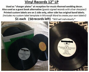 "SALE: Assorted vinyl records size 12"", cost $1 each"