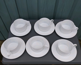 White coffee cups and saucers, M&S.