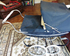 Vintage & modern Silver cross DOLLS carriage prams navy blue & bedding