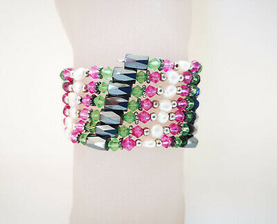 "36"" freshwater pearl crystal magnet wrap bracelet jewelry marking supply Freshwater Pearl Magnet Bracelet"