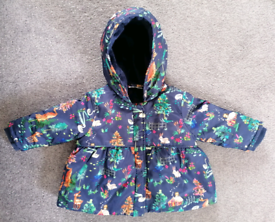Girls Autumn/Winter Coat, Woodland Design 3 to 6 month.