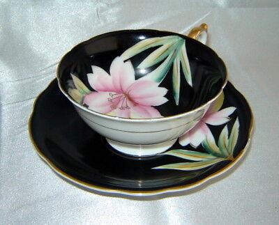 Lenwile China ARDALT Black/Pink Floral Blossom Gold Tea Cup & Saucer Set (Japan)