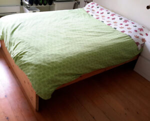 IKEA solid wood double bedframe, excellent condition