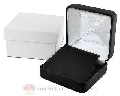 Black Leather Pendant Earring Metal Jewelry Gift Box 2 58w X 2 58d X 1 38h