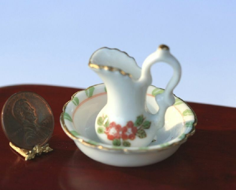 Dollhouse Miniature Washbasin and Pitcher with Green & Pink Design
