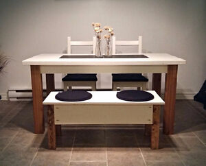 Solid wood table and bench with storage