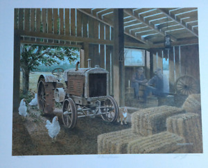 James Lumbers  - Ltd edition  - A game of checkers - old tractor