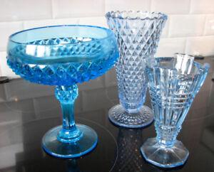 Antiquité Collection Verre Depression Glass Blue bleu Vase & Bol