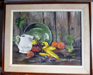 "Barn Board, Rural Oil Painting by Reid Stewart ""Still Life"" 1973"