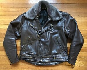 VTG 60's LANGLITZ COLUMBIA Leather Motorcycle JACKET w/Mouton Collar! 44