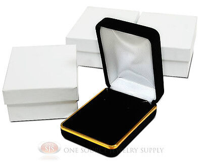 3 Piece Black Velvet Necklace Earrings Jewelry Gift Box 2 14 X 3 X 1 14h