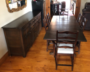 Retro 1940s Antique Dining Table and Sideboard