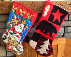 2 NEW CHRISTMAS STOCKINGS, TREE SKIRT, ANGELS, ORNAMENTS