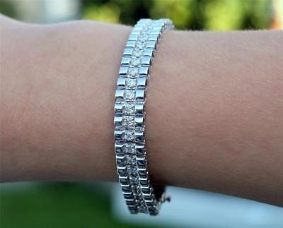 Diamond Bracelet 14k White Gold Link 5ct Men Women USA Made