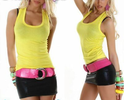 Sexy Ladies Girly Tank Tank Top Muscle Shirt Wide Strap 34/36/38 New -