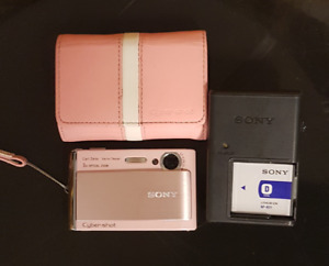 Pink Sony Cybershot Camera with Case
