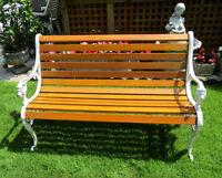 Steel and Wood Outdoor Bench - Lion Head Pattern