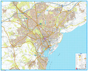 A - Z STREET MAP OF CARDIFF - FLAT MAP - CARDIFF WALL MAP.  PAPER MAP
