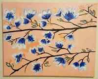 Blue flowers hand painted