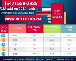 THE VERY BEST CELL PHONE PLANS $53-12G $60-16G $70-20GB $80-30GB