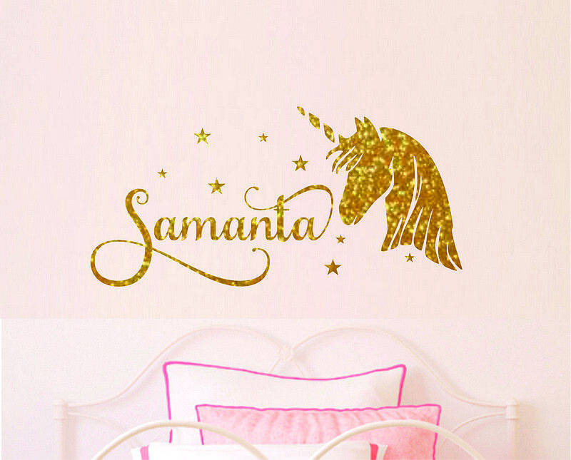 Details About Name Personalised Wall Decor Kids Baby S Bedroom Stickers Unicorn