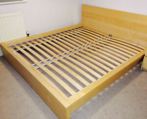 Used Ikea Oak Bed Frame with Beauty Rest Mattress & Boxspring