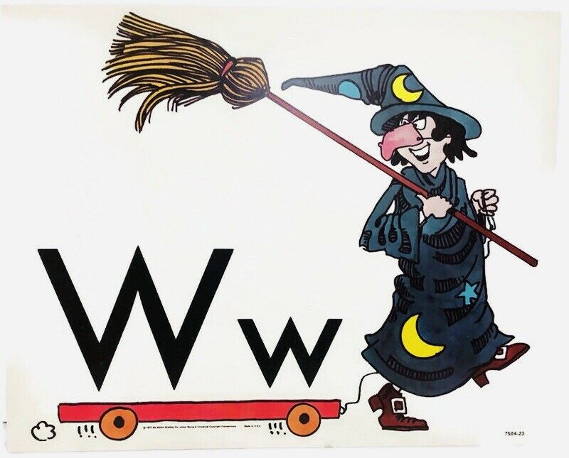 Vintage Alphabet Poster Card Electric Company Letter W 1977 Milton Bradley Witch