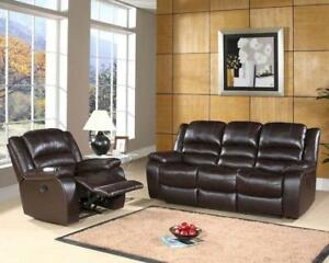 NEW YEARS SPECIALS ON NOW 3PCS RECLINER AIR LEATHER WITH CUP HOLDERS  SET $999 LOWEST PRICE JUST A FEW SET LEFT
