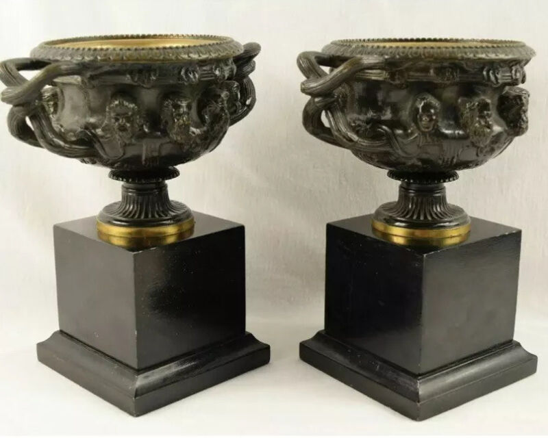 Pair of Antique French Bronze Handled Warwick Urns Compotes Bacchus Masks