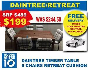 7 PIECE OUTDOOR SETTING, 1 TIMBER TABLE + 6 CUSHION CHAIRS Broadbeach Gold Coast City Preview