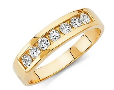 14k Yellow Gold 5 mm Round Diamond Mens Wedding Band Ring Channel
