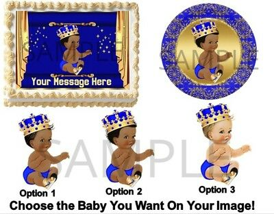 Royal Blue and Gold Little Prince Sneakers EDIBLE Cake Topper Image - Royal Blue Cupcakes