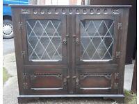 Vintage Gothic Style Oak Glazed Leaded Bookcase With Shelf And Cabinet