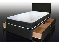 BRAND NEW DOUBLE/SINGLE DIVAN BED WITH MEMORY FOAM MATTRESS AND DRAWERS
