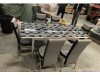 💥EXCLUSIVE WHOLESALE !! BRAND NEW TURKISH DINING TABLE WITH 6 CHAIRS BLACK GREY WHITE